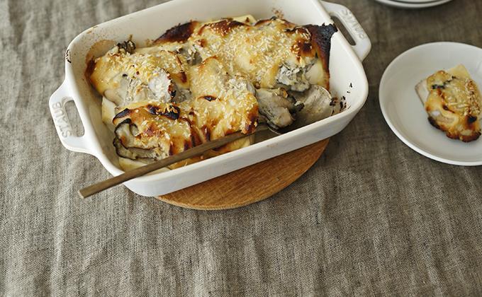 牡蠣と豆腐の味噌マヨネーズグラタン