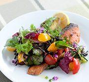 塩鮭とアボカドのソテー 彩り野菜とひじきの付け合わせ