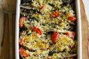 アジとナスとトマトのハーブパン粉焼き