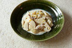 豚肉とレンコン、カブの豆乳柚子ソース