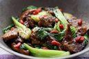 レバーとチンゲン菜の炒め物