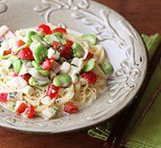 ホタテとトマトとモッツァレラの和風カッペリーニ