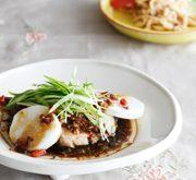 ブリと長芋の蒸し物 ねぎ油ソース