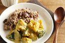 カボチャのサブジと甘栗&黒豆ごはんのプレート