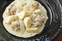 タケノコと新玉ねぎ、鶏もも肉の粒マスタードクリーム煮
