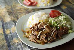 とうもろこしご飯と豚肉のショウガ焼き