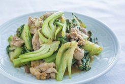 鶏肉とチンゲン菜のごま酢炒め