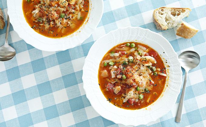 カブとグリンピースのサルサスープ