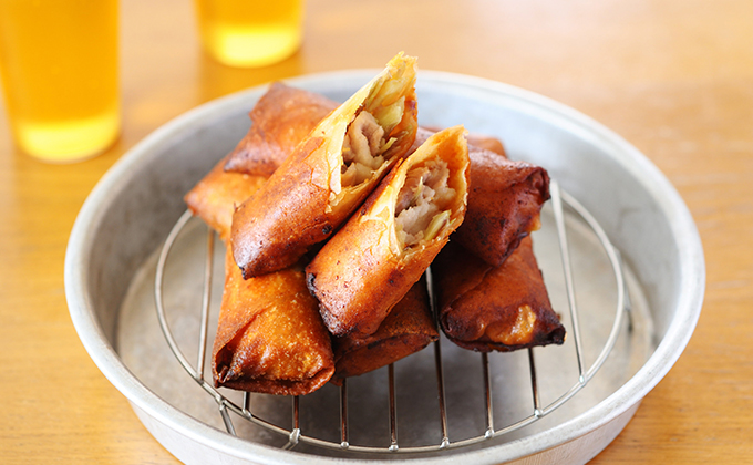 豚肉とミョウガの味噌春巻き