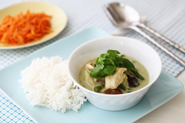 夏野菜のグリーンカレー&ジャスミンライス