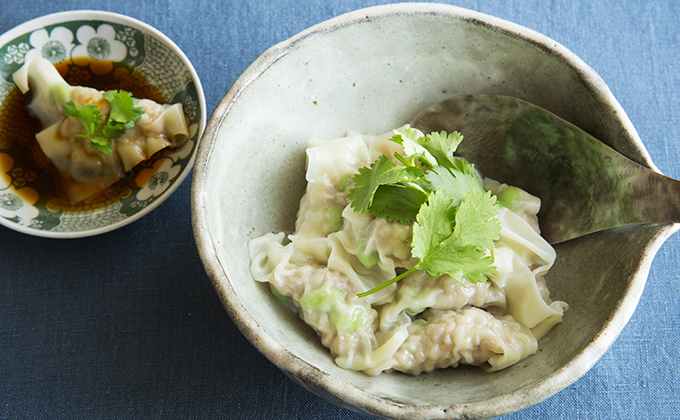 枝豆と豚肉のワンタン